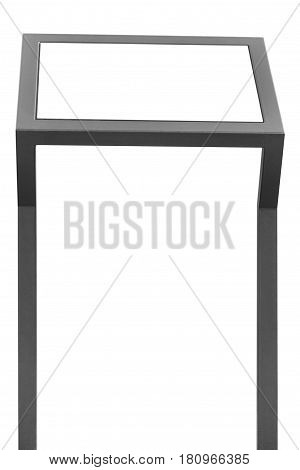 Info display stand grey metal rack info board isolated horizontal framed meny copy space two vertical gray metallic poles poster presentation frame outdoor dispenser promotion marketing concept background