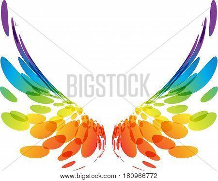 Multicolored futuristic wings on white background, vector illustration