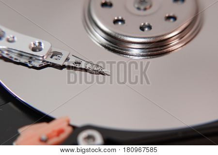 magnetic head of the hard disk. Inside hard drive. Storage of information.