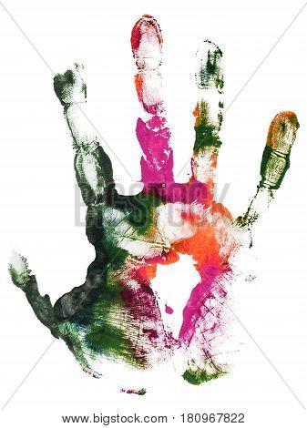Close-up colorful gouache imprint wrist. Gouache hand print paint