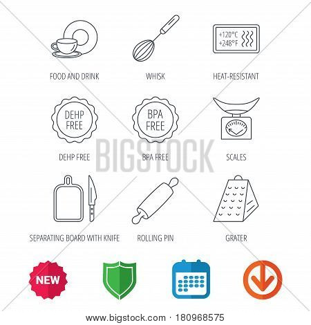 Kitchen scales, whisk and grater icons. Rolling pin, board and knife linear signs. Food and drink, BPA, DEHP free icons. New tag, shield and calendar web icons. Download arrow. Vector