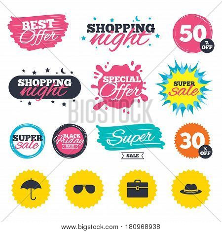 Sale shopping banners. Special offer splash. Clothing accessories icons. Umbrella and sunglasses signs. Headdress hat with business case symbols. Web badges and stickers. Best offer. Vector