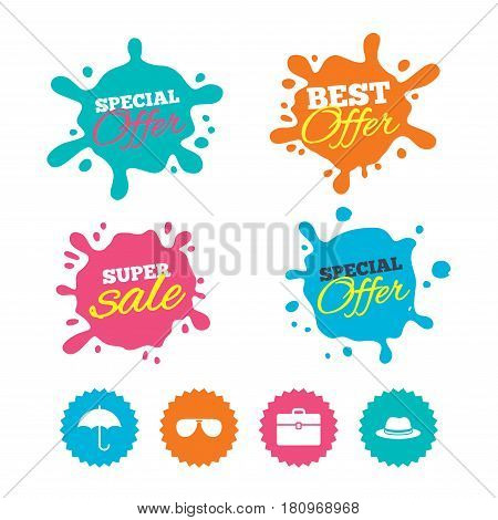 Best offer and sale splash banners. Clothing accessories icons. Umbrella and sunglasses signs. Headdress hat with business case symbols. Web shopping labels. Vector