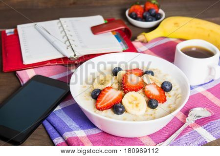 Planning Morning Concept With Healthy Breakfast And Coffee