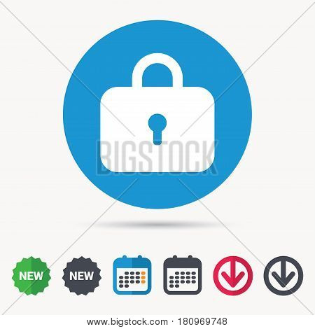 Lock icon. Privacy locker sign. Closed access symbol. Calendar, download arrow and new tag signs. Colored flat web icons. Vector