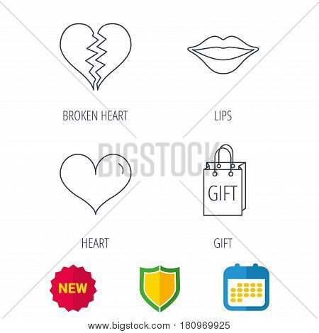 Love heart, kiss lips and gift icons. Broken heart linear sign. Shield protection, calendar and new tag web icons. Vector