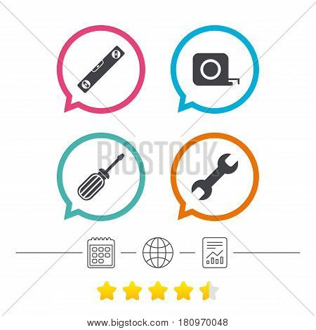 Screwdriver and wrench key tool icons. Bubble level and tape measure roulette sign symbols. Calendar, internet globe and report linear icons. Star vote ranking. Vector