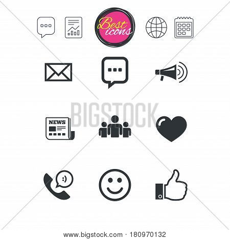 Chat speech bubble, report and calendar signs. Mail, news icons. Conference, like and group signs. E-mail, chat message and phone call symbols. Classic simple flat web icons. Vector