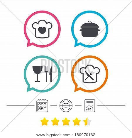 Chief hat with heart and cooking pan icons. Crosswise fork and knife signs. Boil or stew food symbol. Calendar, internet globe and report linear icons. Star vote ranking. Vector