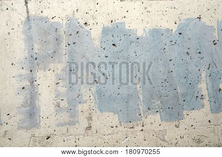 White Wall With Blue Paint -abstract Texture Background