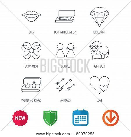 Love heart, gift box and wedding rings icons. Kiss lips and couple linear signs. Valentine amour arrows, brilliant flat line icons. New tag, shield and calendar web icons. Download arrow. Vector
