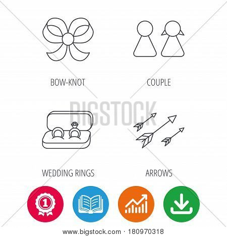 Arrows, couple and wedding rings icons. Bow-knot linear sign. Award medal, growth chart and opened book web icons. Download arrow. Vector