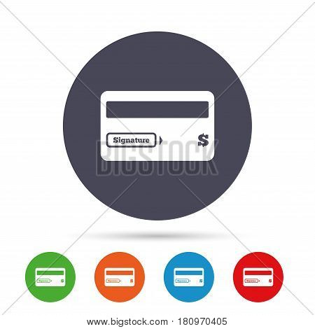 Credit card sign icon. Debit card symbol. Virtual money. Round colourful buttons with flat icons. Vector