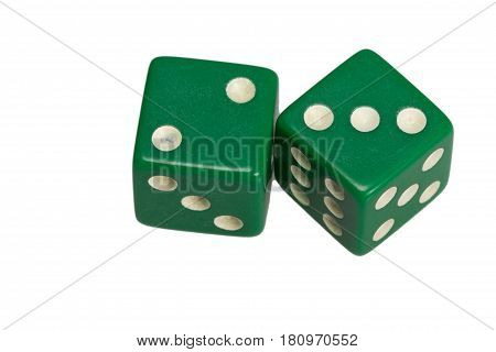 Two dice showing two and three, on white background.