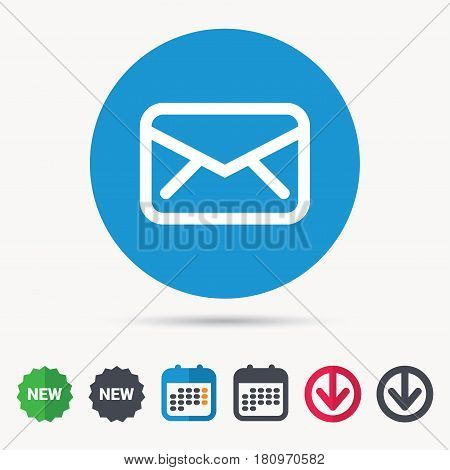 Envelope icon. Send email message sign. Internet mailing symbol. Calendar, download arrow and new tag signs. Colored flat web icons. Vector