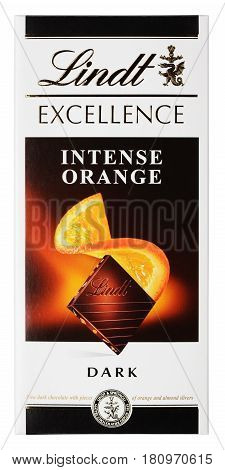 MOSCOW RUSSIA - APRIL 9 2017: Top view of Lindt EXCELLENCE intense orange Swiss dark chocolate bar isolated on white with clipping path. Lindt chocolate bar made by Lindt & Spr