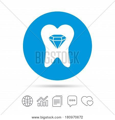 Tooth crystal icon. Tooth jewellery sign. Dental prestige symbol. Copy files, chat speech bubble and chart web icons. Vector