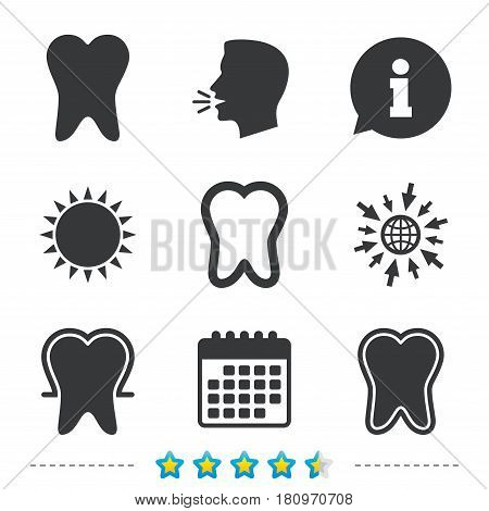 Tooth enamel protection icons. Dental care signs. Healthy teeth symbols. Information, go to web and calendar icons. Sun and loud speak symbol. Vector