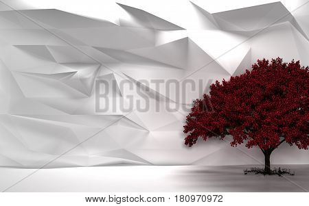 White Abstract Wall Cherry Tree 3D Render