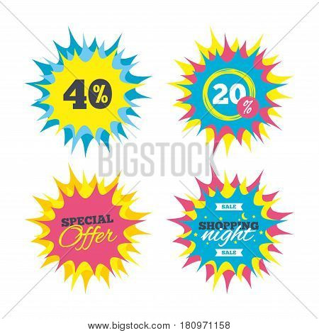 Shopping offers, special offer banners. 40 percent discount sign icon. Sale symbol. Special offer label. Discount star label. Vector