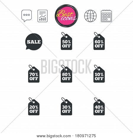 Chat speech bubble, report and calendar signs. Sale discounts icons. Special offer signs. Shopping price tag symbols. Classic simple flat web icons. Vector