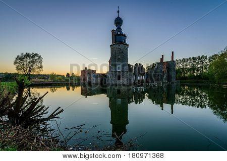 Castle of Havre, sunset in Moins, Belgium