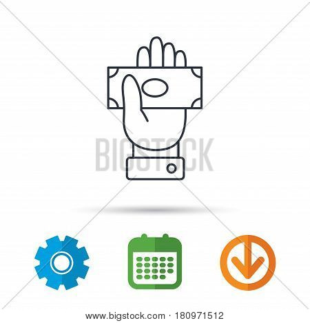 Money icon. Cash in giving hand sign. Payment symbol. Calendar, cogwheel and download arrow signs. Colored flat web icons. Vector