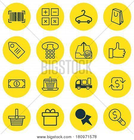 Set Of 16 Commerce Icons. Includes E-Trade, Handbag, Discount Coupon Symbols. Beautiful Design Elements.