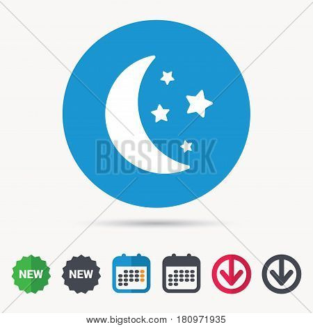 Moon and stars icon. Night sleep symbol. Calendar, download arrow and new tag signs. Colored flat web icons. Vector