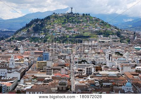 View of the old town of Quito in Ecuador.