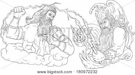 Drawing sketch style illustration of Zeus Greek god of the sky and ruler of the Olympian gods wielding a thunderbolt lightning versus poseidon holding trident surrounded by waves viewed from the side set on isolated white background done in black