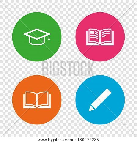 Pencil and open book icons. Graduation cap symbol. Higher education learn signs. Round buttons on transparent background. Vector