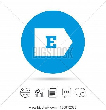 Energy efficiency class E sign icon. Energy consumption symbol. Copy files, chat speech bubble and chart web icons. Vector