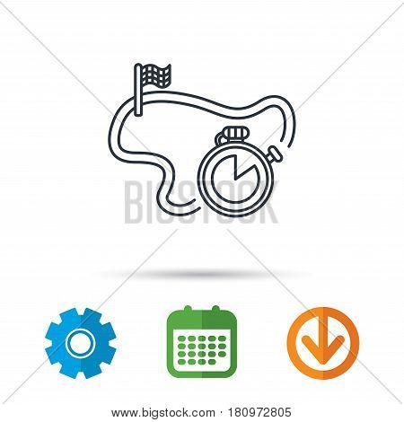 Race road icon. Finishing flag with timer sign. Calendar, cogwheel and download arrow signs. Colored flat web icons. Vector
