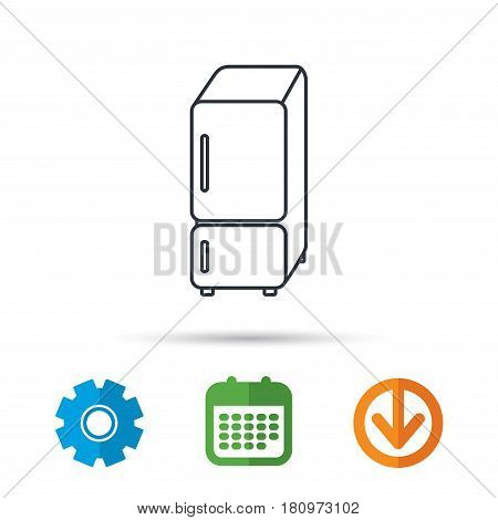 Refrigerator icon. Fridge sign. Calendar, cogwheel and download arrow signs. Colored flat web icons. Vector