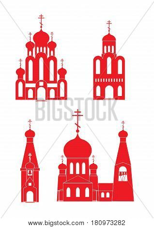 Orthodox  traditional churches icon set vector illustration