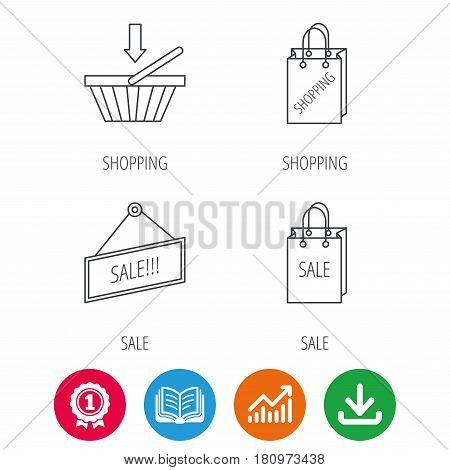 Shopping cart, sale bag icons. Sale label linear sign. Award medal, growth chart and opened book web icons. Download arrow. Vector
