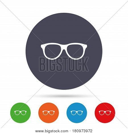 Retro glasses sign icon. Eyeglass frame symbol. Round colourful buttons with flat icons. Vector