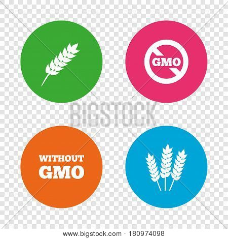 Agricultural icons. Gluten free or No gluten signs. Without Genetically modified food symbols. Round buttons on transparent background. Vector