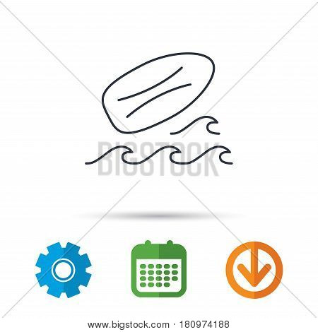 Surfboard icon. Surfing waves sign. Calendar, cogwheel and download arrow signs. Colored flat web icons. Vector