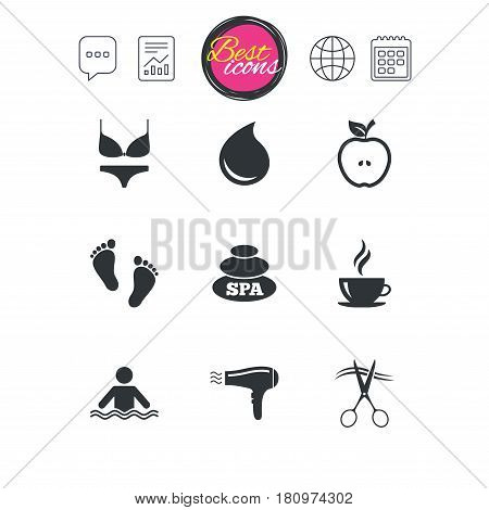 Chat speech bubble, report and calendar signs. Spa, hairdressing icons. Swimming pool sign. Lingerie, scissors and hairdryer symbols. Classic simple flat web icons. Vector