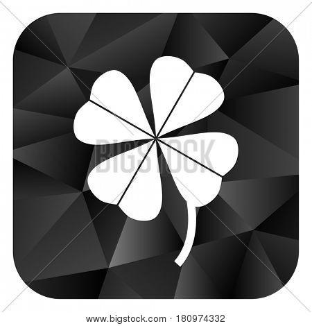 Four-leaf clover black color web modern brillant design square internet icon on white background.