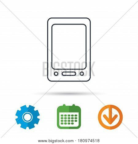 Tablet PC icon. Touchscreen pad sign. Calendar, cogwheel and download arrow signs. Colored flat web icons. Vector