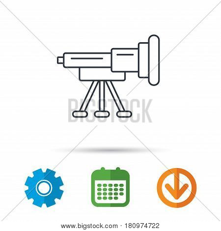 Telescope icon. Spyglass sign. Astronomy magnify lens symbol. Calendar, cogwheel and download arrow signs. Colored flat web icons. Vector