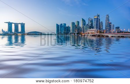 SINGAPORE CITY, SINGAPORE - FEBRUARY 10, 2017: View Of Marina Bay sands at sunrise. Travel, Singapore on FEBRUARY 10, 2017