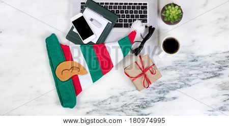 Seasonal Christmas holiday concept on working marble desktop
