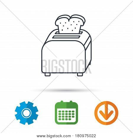 Toaster icon. Sandwich machine sign. Calendar, cogwheel and download arrow signs. Colored flat web icons. Vector