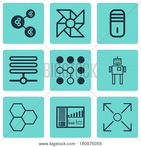 Set Of 9 Artificial Intelligence Icons. Includes Algorithm Illustration, Controlling Board, Information Base And Other Symbols. Beautiful Design Elements.
