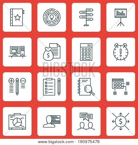 Set Of 16 Project Management Icons. Includes Schedule, Opportunity, Time Management And Other Symbols. Beautiful Design Elements.
