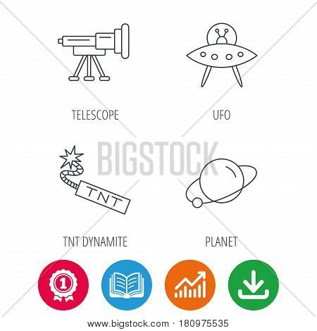 Ufo, planet and telescope icons. TNT dynamite linear sign. Award medal, growth chart and opened book web icons. Download arrow. Vector
